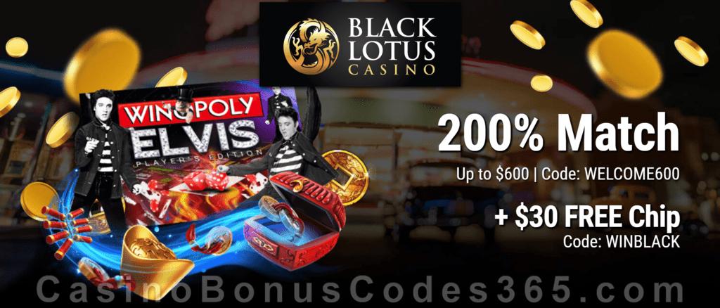 Black Lotus Casino 200% Match Welcome Bonus plus $30 FREE Chip on top!
