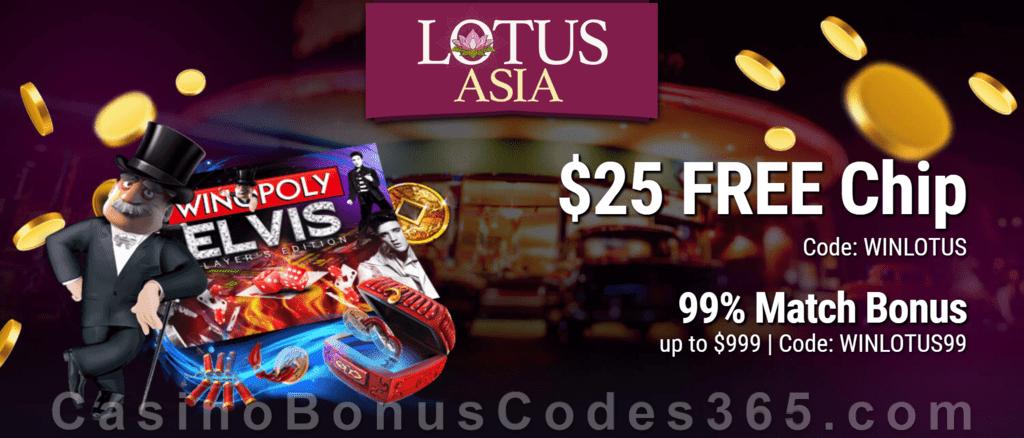 Lotus Asia Casino $25 FREE Chip plus 99% Match Welcome Bonus