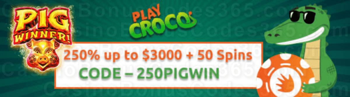 PlayCroco 250% up to $3000 Bonus plus 50 FREE RTG Pig Winner Spins Welcome Deal