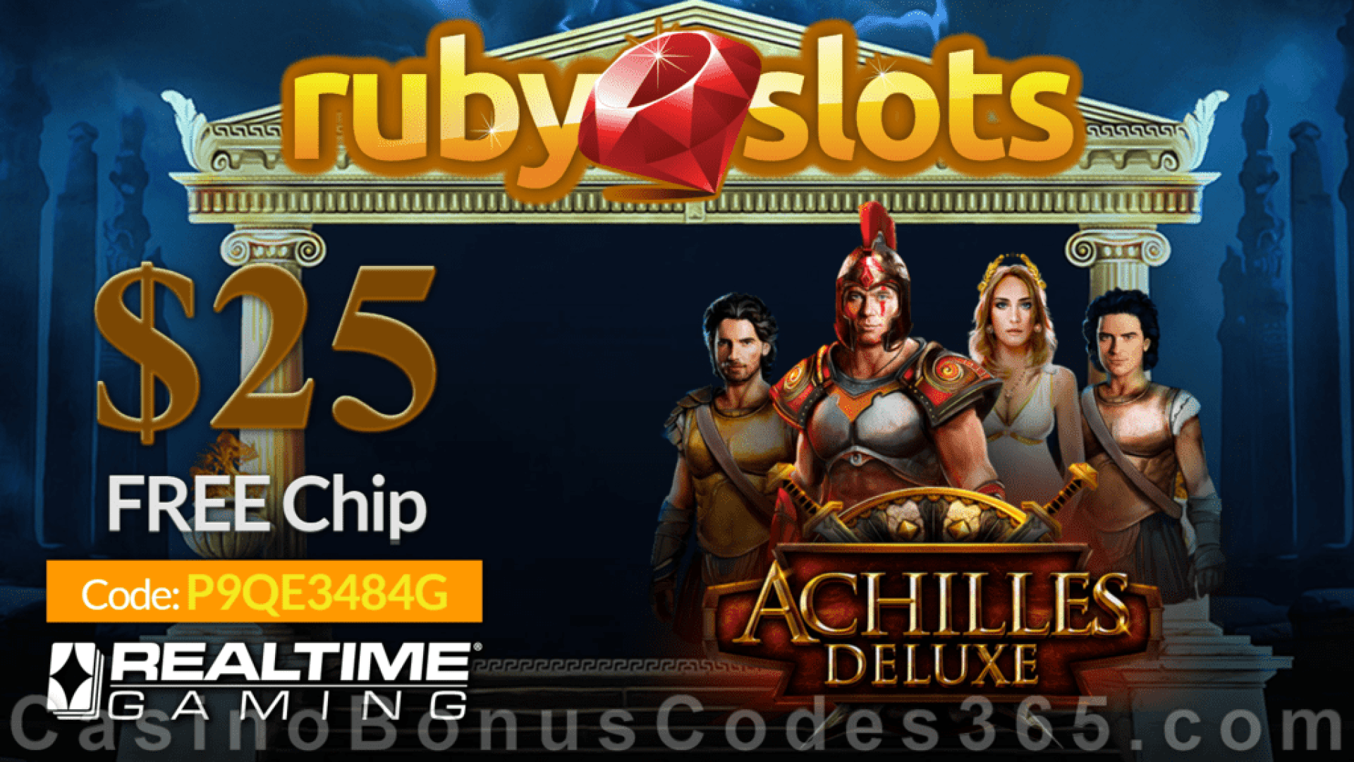 RubySlots $25 FREE Chip New RTG Game  Achilles Deluxe Special No Deposit Promo