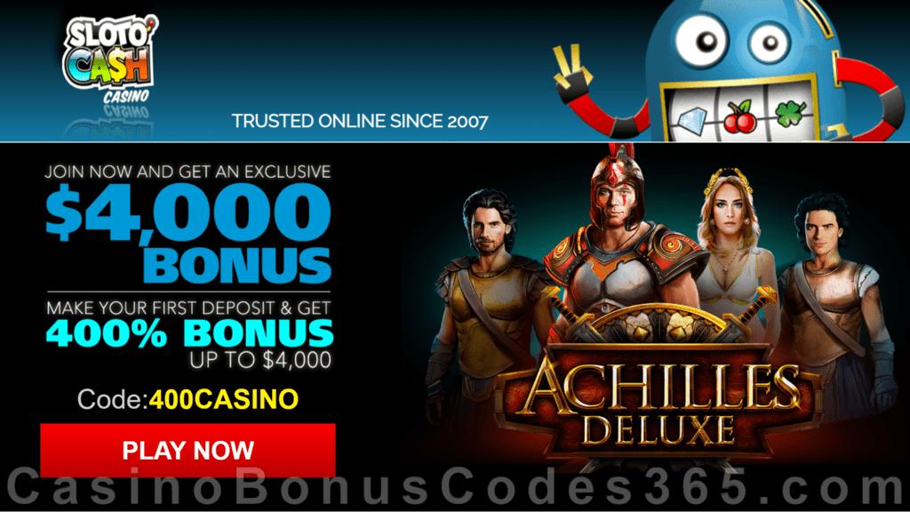 SlotoCash Casino RTG Achilles Deluxe 400% Welcome Bonus