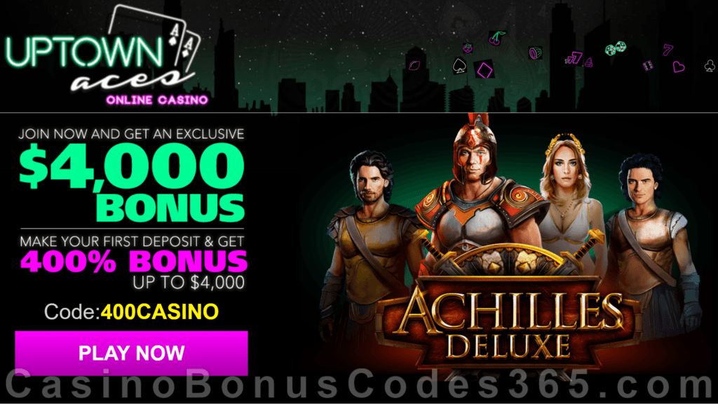 Uptown Aces Achilles Deluxe New Game 400% Welcome Bonus