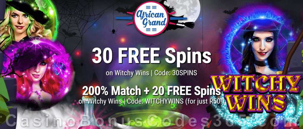 African Grand Online Casino 30 FREE Witchy Wins Spins and 200% Match Bonus plus 20 FREE Spins Special New RTG Game Welcome Deal