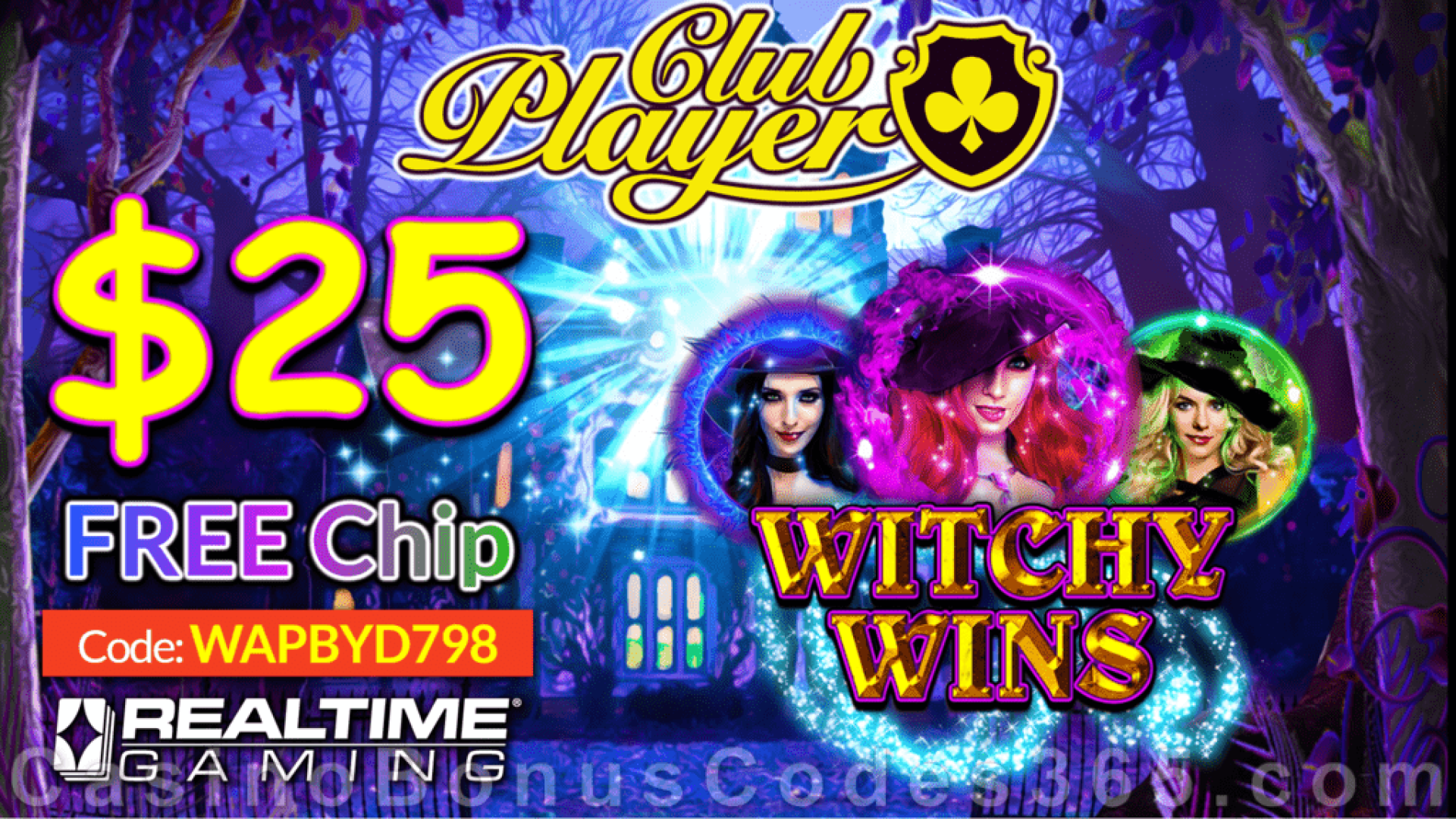 Club Player CasinoNew RTG Game  Witchy Wins New RTG Game $25 FREE Chip Special Deal