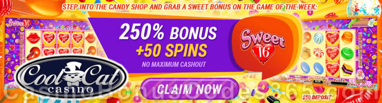 CoolCat Casino 250% No Max Match plus 50 FREE Spins on RTG Sweet 16 Special Game of the Week Promotion