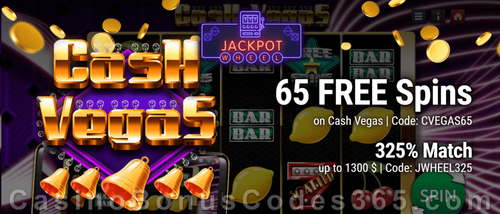 Jackpot Wheel 65 No Deposit FREE Saucify Cash Vegas Spins plus 325% Match Welcome Bonus