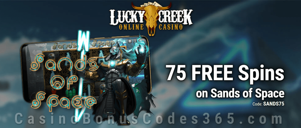 Lucky Creek Exclusive 75 FREE Spins on Saucify Sands of Space No Deposit Promo