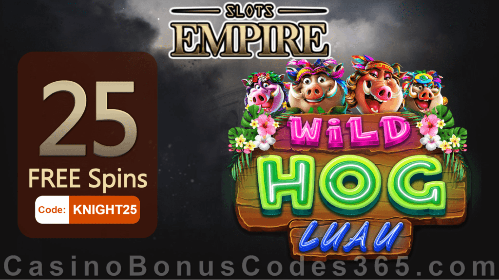 Slots Empire Exclusive 25 FREE Spins on RTG Wild Hog Luau New Players Deal