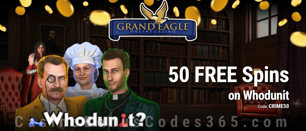 Grand Eagle Casino 50 FREE Spins on Saucify Whodunit Special No Deposit Deal