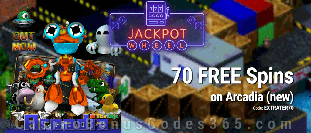 Jackpot Wheel 70 FREE Saucify Arcadia Spins Exclusive No Deposit All Players Promo