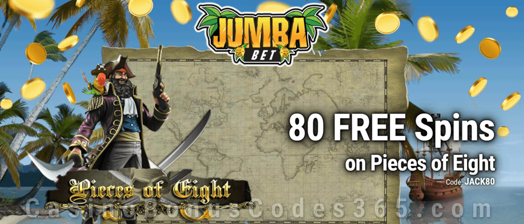 Jumba Bet Exclusive No Deposit 80 FREE Saucify Pieces of Eight Spins Offer