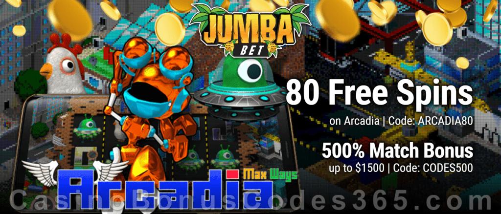 Jumba Bet 80 FREE Saucify Arcadia Spins plus 500% Match Welcome Bonus