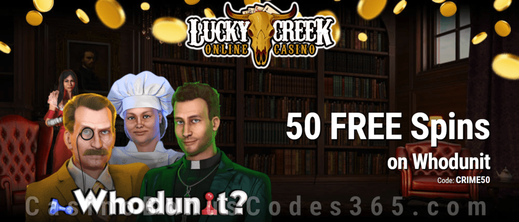 Lucky Creek Exclusive 50 FREE Spins on Saucify Whodunit No Deposit Promo