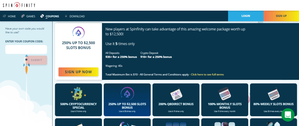 Spinfinity Casino Welcome Bonus