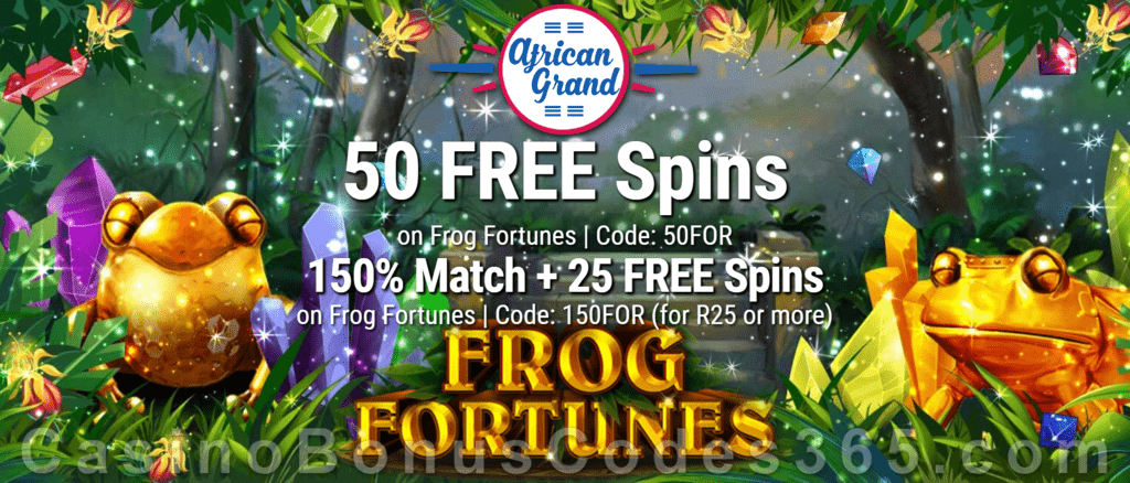 African Grand Online Casino 50 FREE Frog Fortunes Spins and 150% Match Bonus plus 25 FREE Spins Special New RTG Game Welcome Deal