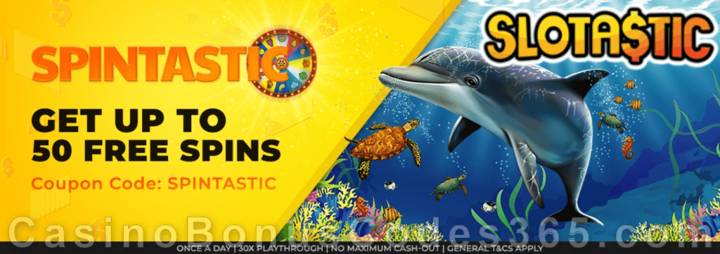 Slotastic Online Casino November Extra FREE Spins on RTG Crystal Waters Daily Offer