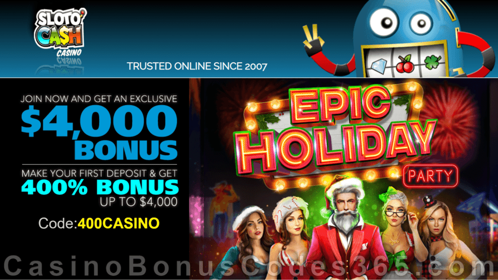 SlotoCash Casino RTG Epic Holiday Party 400% Welcome Bonus