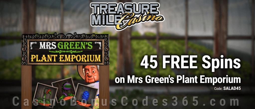 Treasure Mile Casino Exclusive 45 FREE Spins on Saucify Mrs Greens Plant Emporium