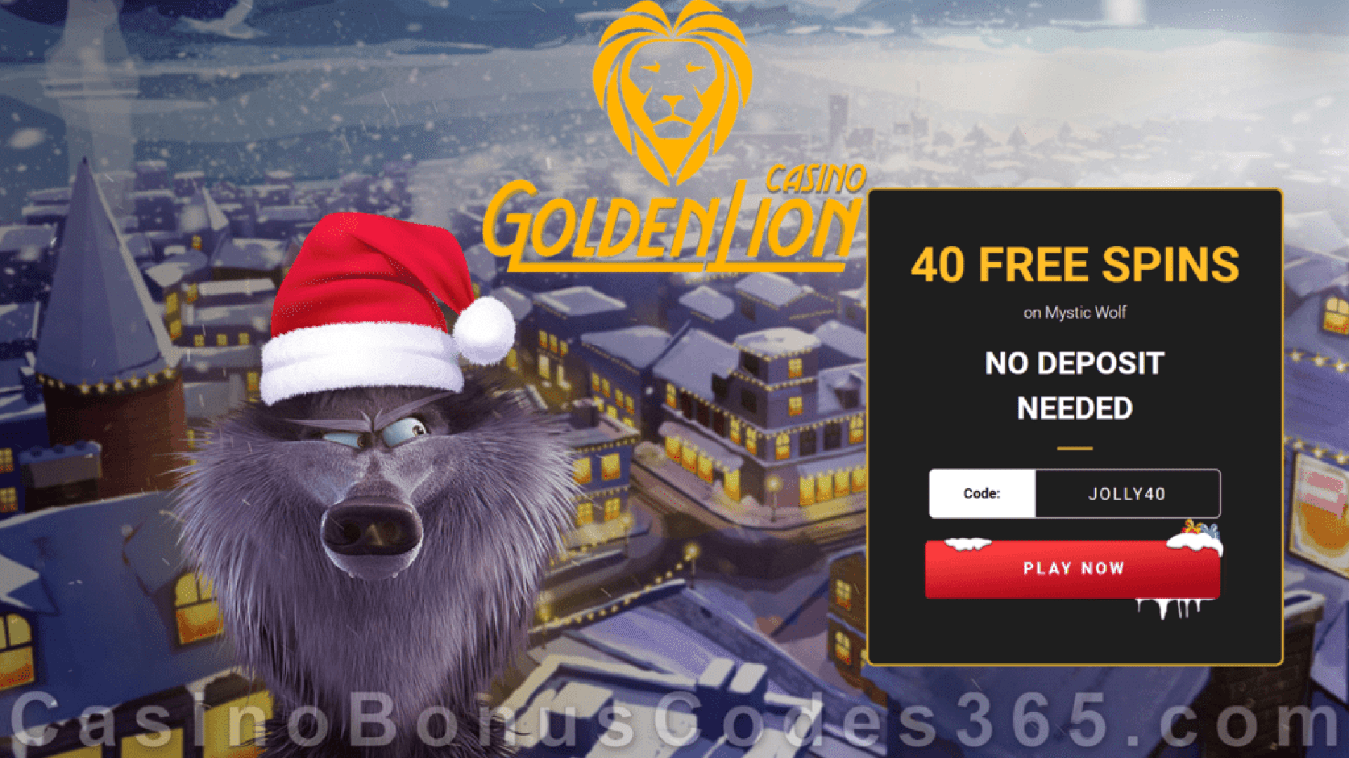 Golden Lion Casino 40 FREE Spins on Rival Gaming Mystic Wolf Special No Deposit Sign Up Promo