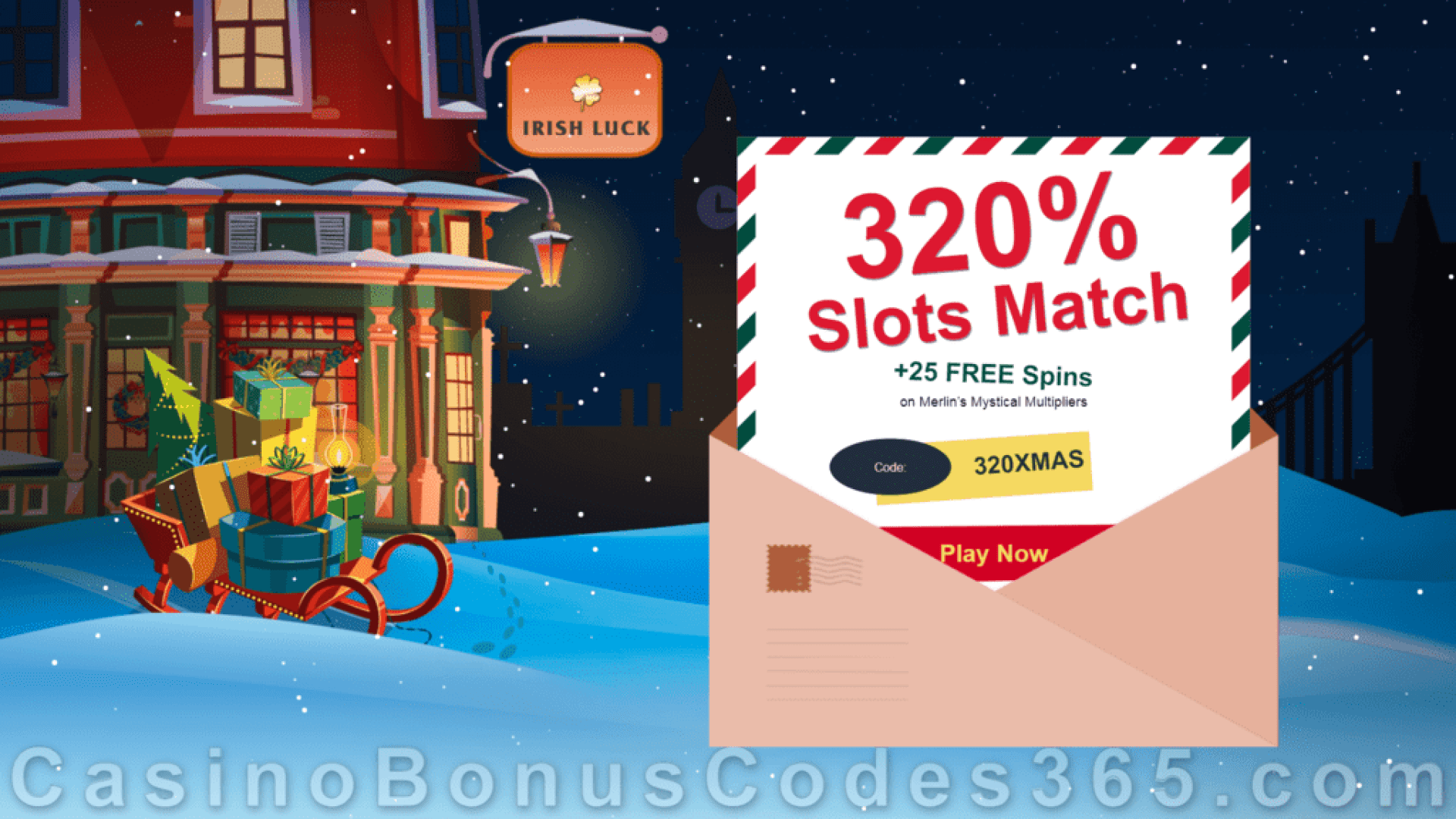 IrishLuck Casino 320% Slots Match Bonus plus 25 FREE Rival Gaming Merlin's Mystical Multipliers Spins Xmas 2020 Special Welcome Deal