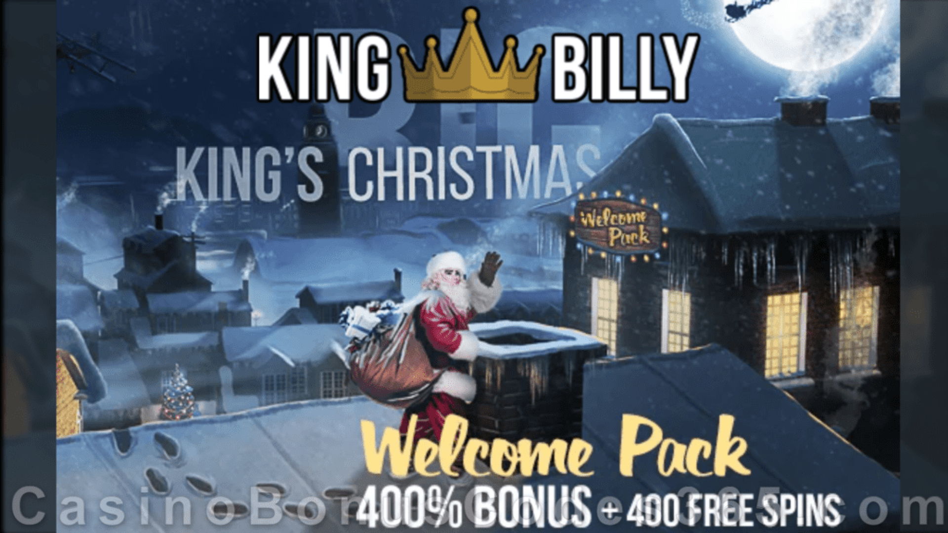 King Billy Casino BIG King's Christmas 400% Match Bonus plus 400 FREE Spins on top Welcome Pack Play n Go Merry Xmas Betsoft A Christmas Carol