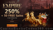 Slots Empire 250% Match Bonus plus 50 FREE Spins RTG Epic Holiday Party Xmas 2020 Special New Players Deal