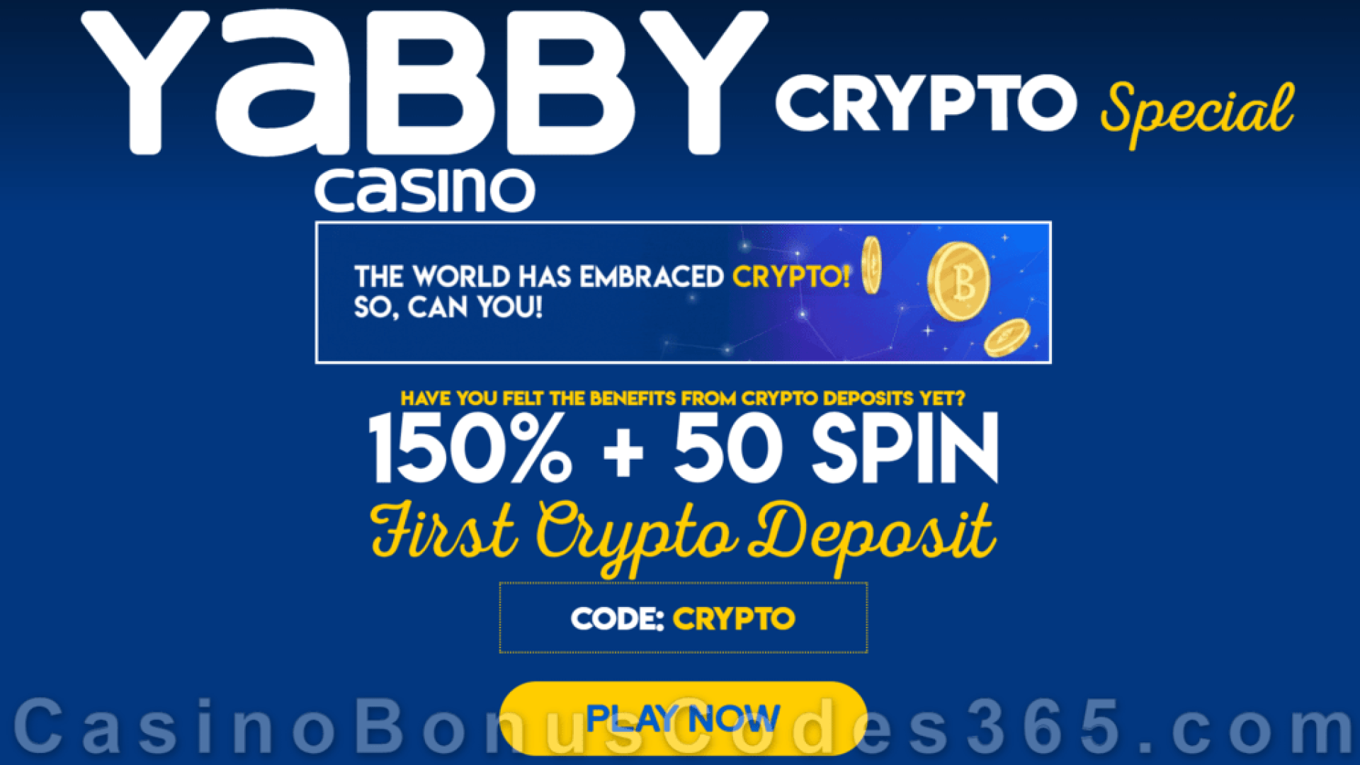Yabby Casino 150% No Max plus 50 FREE Spins First Crypto Deposit Bonus