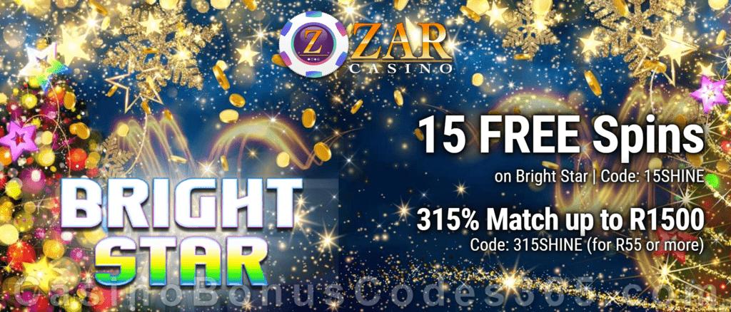ZAR Casino 15 FREE Spins on Saucify Bright Star plus 315% Match Bonus New Players Promotion