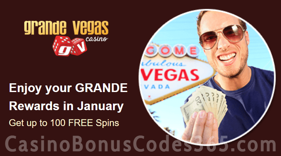 Grande Vegas Casino January 2021 100 FREE Spins Monthly Offer RTG Sweet 16 Storm Lords