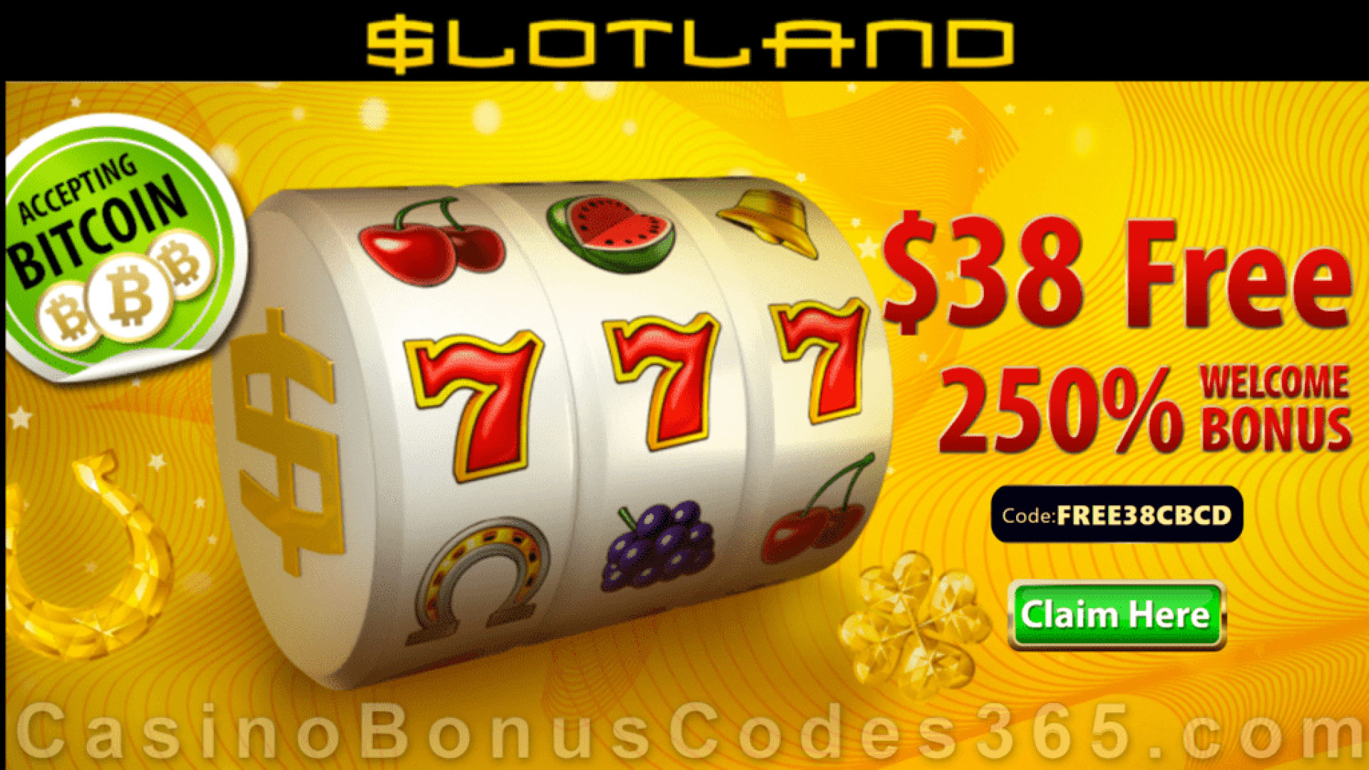 Slotland Casino $38 No Deposit FREE Chip plus 250% Match Welcome Bonus