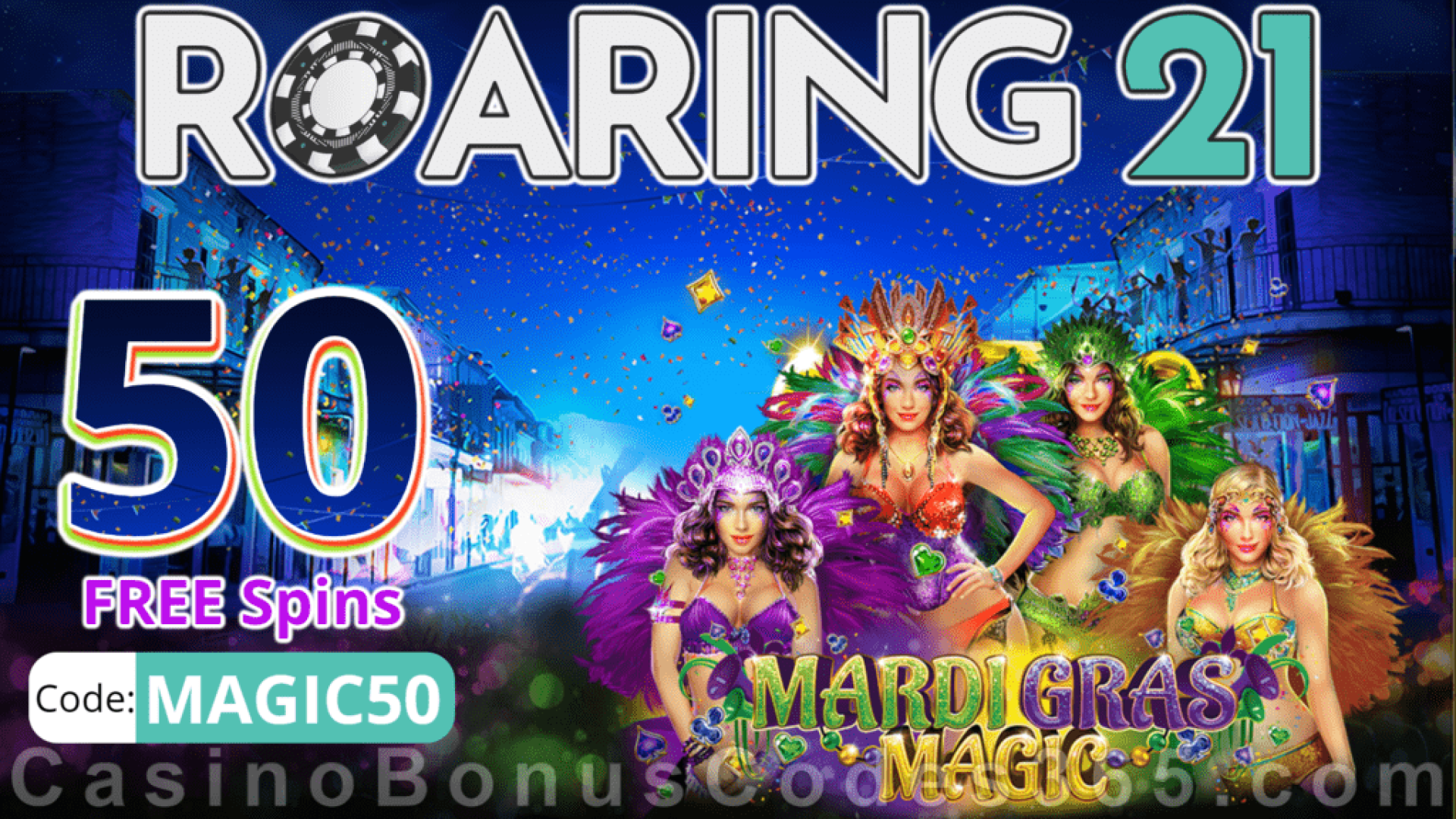 Roaring 21 New RTG Game 50 FREE Mardi Gras Magic Spins Special No Deposit New Players Deal