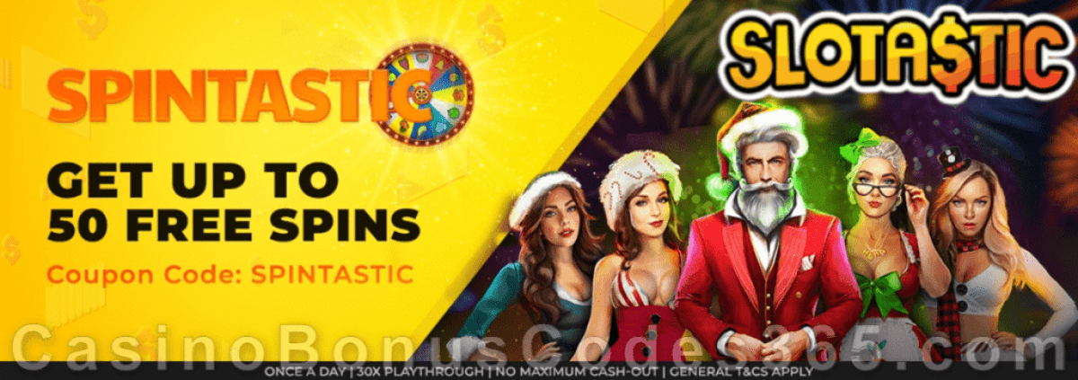 Slotastic Online Casino February Extra FREE Spins on Epic Holiday Party Daily Offer