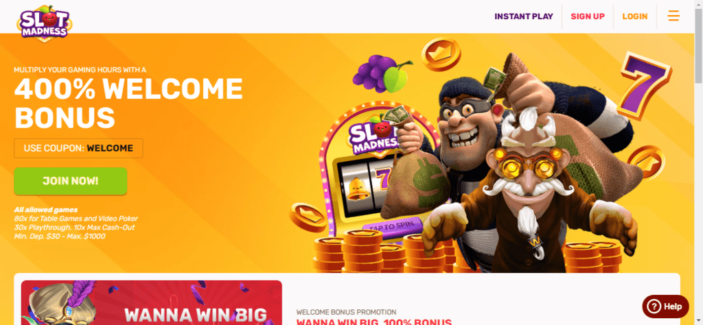Slot Madness Welcome Bonus