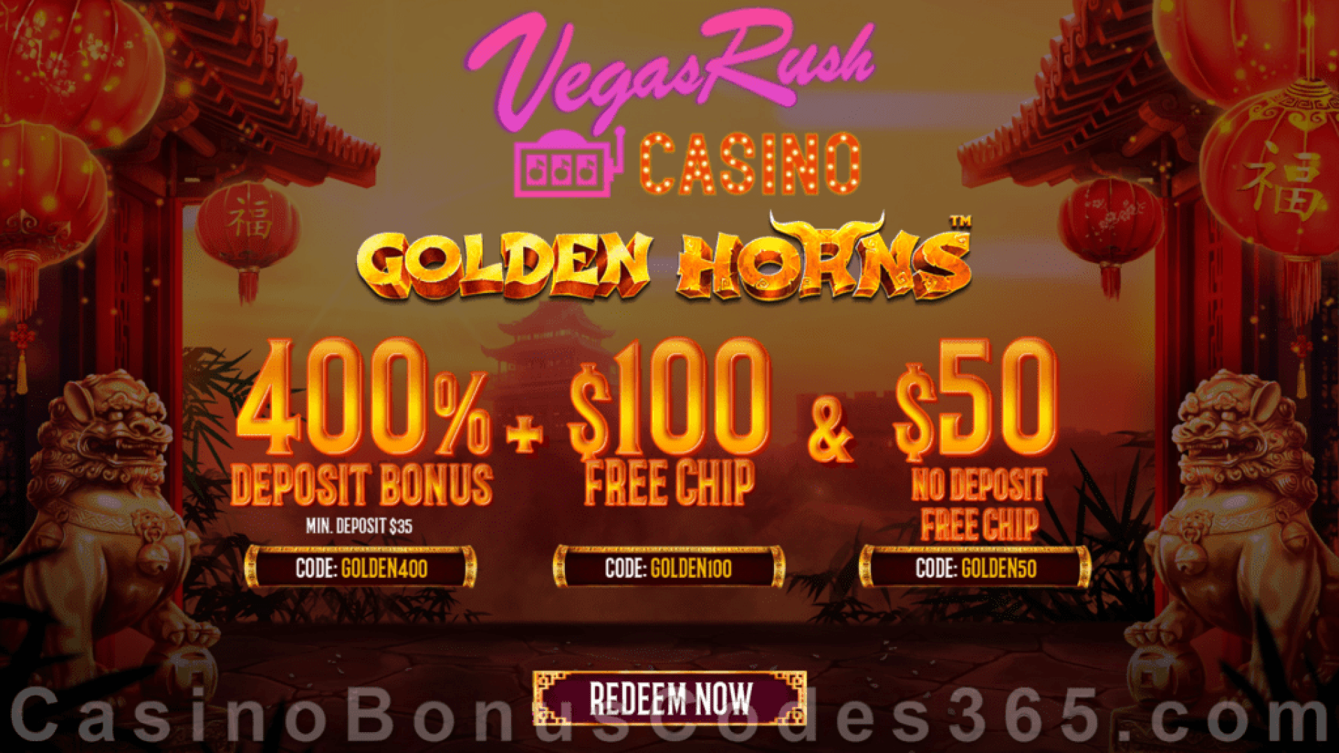 Vegas Rush Casino $50 No Deposit FREE Chip and 400% Match plus $100 FREE Chip Golden Horns Super Deal