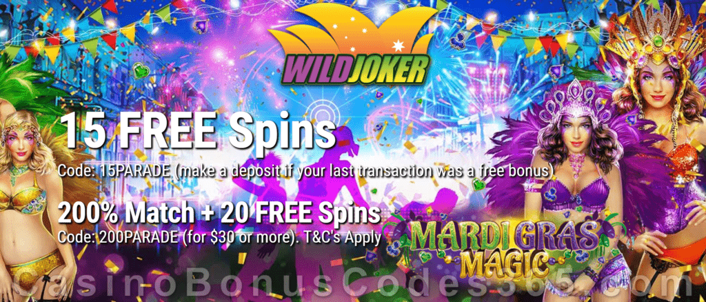 Wild Joker Casino 15 FREE Spins on Mardi Gras Magic and 150% Match plus 25 FREE Spins New RTG Game Special Welcome Package
