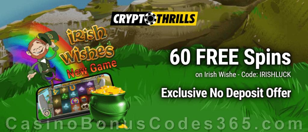 CryptoThrills Casino 60 FREE Saucify Irish Wishes Spins Exclusive Deposit Deal