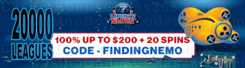 Liberty Slots 100% Match Bonus up to $200 Bonus plus 20 FREE Spins on WGS 20000 Leagues Special Welcome Offer