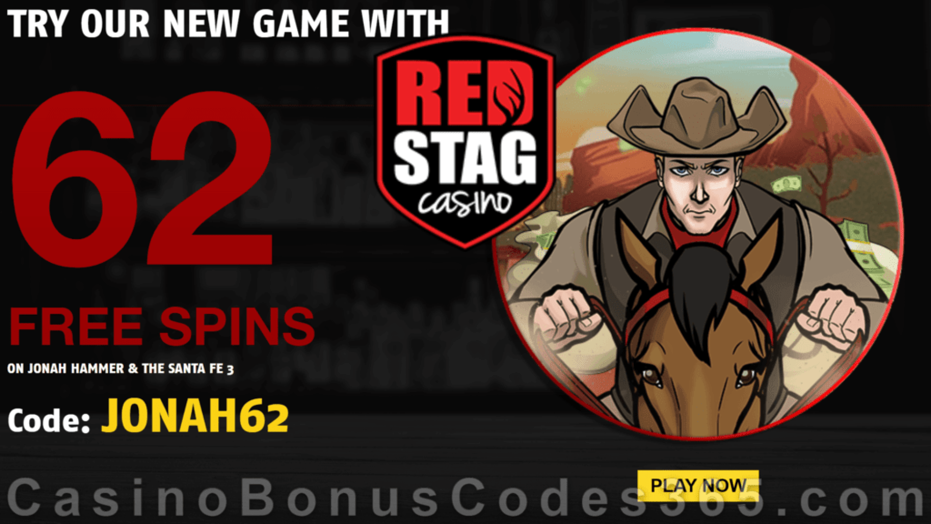 Red Stag Casino 62 FREE Spins on Jonah Hammer New WGS Game Special No Deposit Welcome Deal
