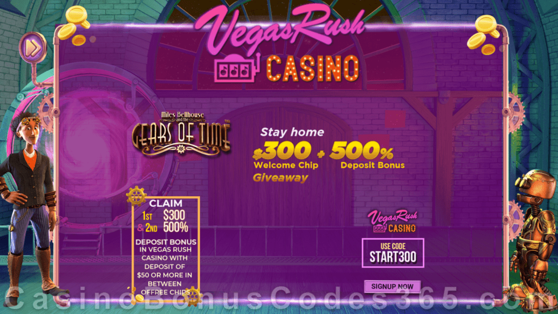 Vegas Rush Casino $300 No Deposit FREE Chip plus 500% Match Betsoft Miles Bellhouse and the Gears of Time Special Bonus Package
