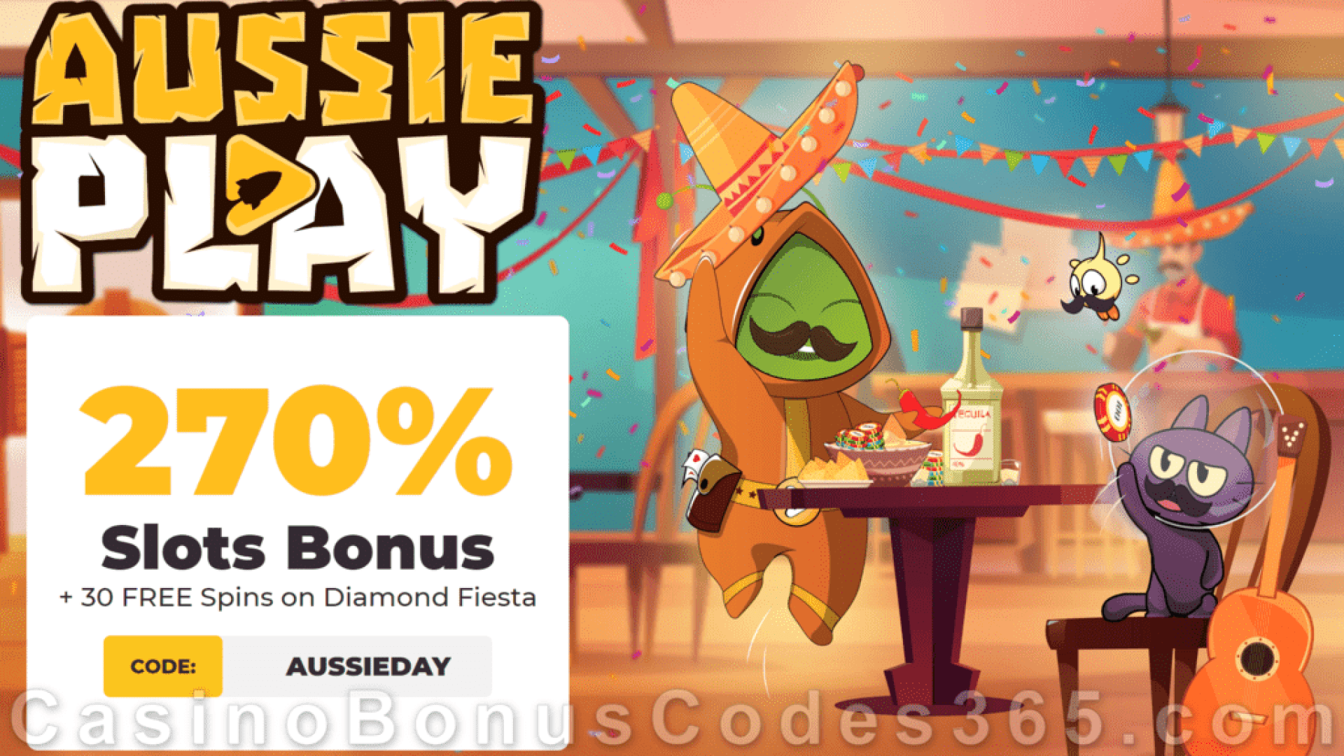 AussiePlay Casino 270% Match Pokies Bonus plus 30 FREE Diamond Fiesta Spins New RTG Game Welcome Offer