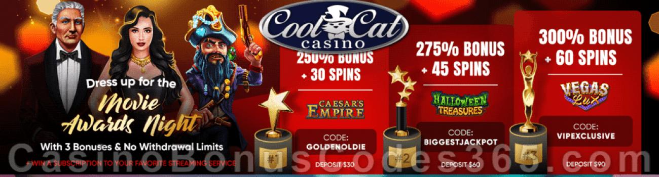 CoolCat Casino CoolCat Casino Movie Awards Night Weekend Bonuses Caesar's Empire Halloween Treasures Vegas Lux