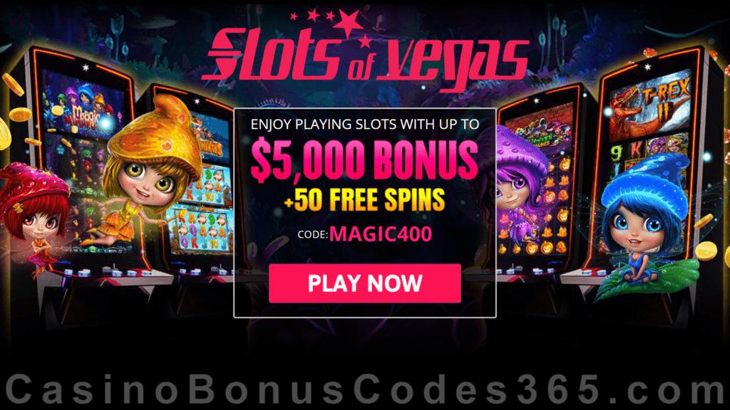 Slots of Vegas $5000 Bonus plus 50 FREE RTG Magic Mushroom Spins Welcome Package