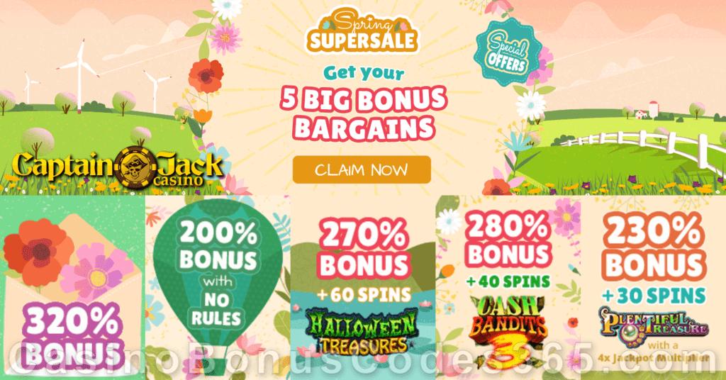Captain Jack Casino Spring Supersale 5 BIG Bonuses Bargains RTG Halloween Treasures Cash Bandits 3 Plentiful Treasures