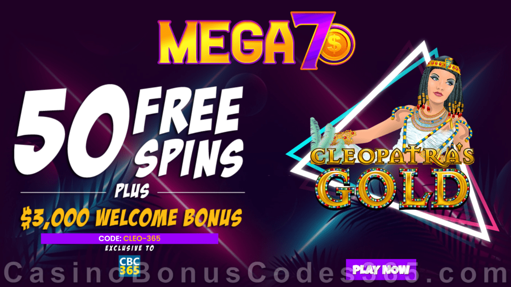Mega7s Casino RTG Cleopatras Gold Exclusive FREE Spins