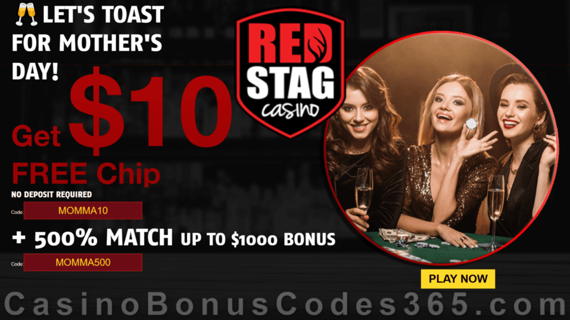 Red Stag Casino $10 FREE Chip plus 500% Match Bonus Super Mother's Day 2021 Deal