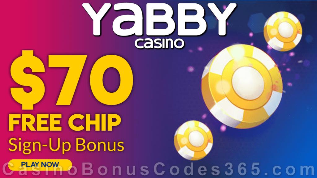 Yabby Casino $70 FREE Chip Sign Up Bonus
