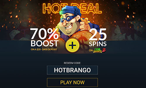 brango hot deal 70% boost on cash bandits 2