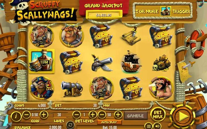 Scruffy Scallywags, Online Casino Bonus, Treasure, Ship, Rum