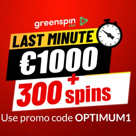 ONLY TODAY – GreenSpin and Casino Tipsters are giving you 1000 EUR and 300 SPINS