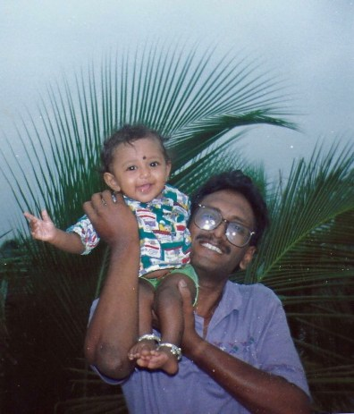My dad with me in Rajahmundry, India